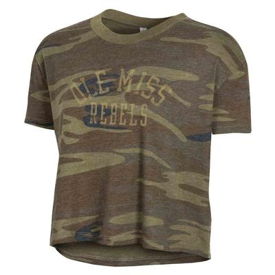 OLE MISS REBELS ECO HEADLINER CROPPED TEE CAMO