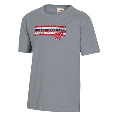 OLE MISS REBELS YOUTH GARMENT DYED SS TEE CONCRETE