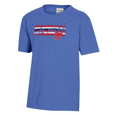 OLE MISS REBELS YOUTH GARMENT DYED SS TEE DEEP_FORTE