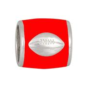 SILVER FOOTBALL ON RED BEAD