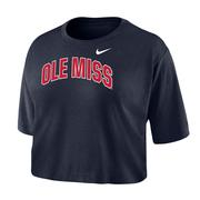 OLE MISS NIKE DRI-FIT COTTON SS CROP TEE