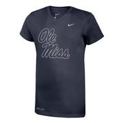 OLE MISS SILVER LEGEND SS V-NECK TEE