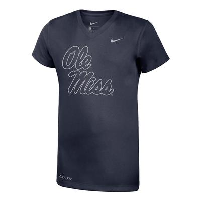 OLE MISS SILVER LEGEND SS V-NECK TEE NAVY