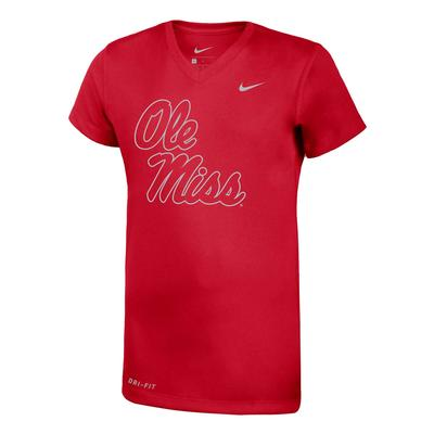 OLE MISS SILVER LEGEND SS V-NECK TEE RED