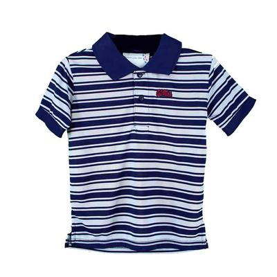 OLE MISS TODDLER POLYESTER STRIPE GOLF SHIRT
