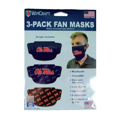 3 PACK OLE MISS FAN MASK FACE COVERS
