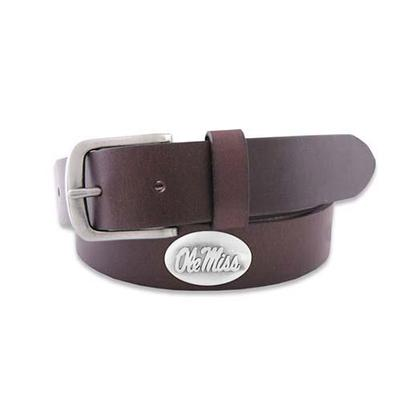 OLE MISS CONCHO PULL UP LEATHER BELT