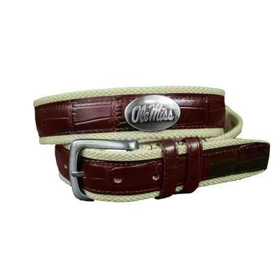OLE MISS CONCHO CROCO CANVAS STRIP BELT