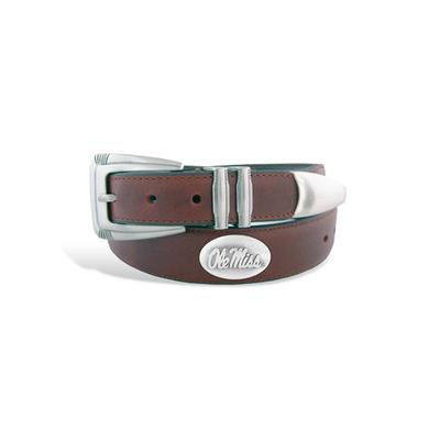 OLE MISS CONCHO LEATHER BELT WITH TIP