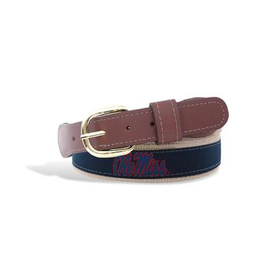 OLE MISS RIBBON BELT WITH TAN LEATHER TABS BRASS BUCKLE