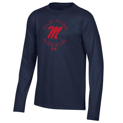 OLE MISS REBELS UA BOYS LS TECH TEE