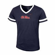 GIRLS SS OLE MISS V NECK TEE