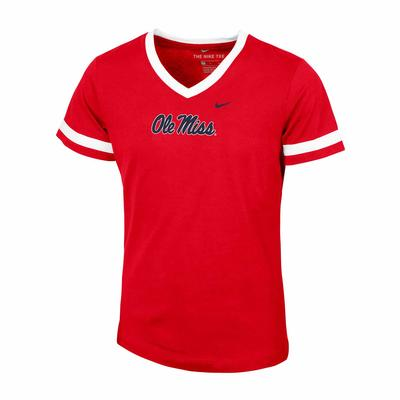 GIRLS SS OLE MISS V NECK TEE RED