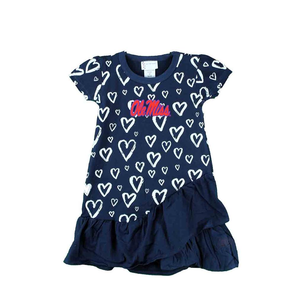 Ole Miss Toddler Distressed Heart Dress
