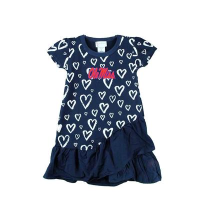 OLE MISS TODDLER DISTRESSED HEART DRESS NAVY