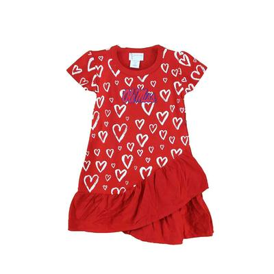 OLE MISS TODDLER DISTRESSED HEART DRESS RED