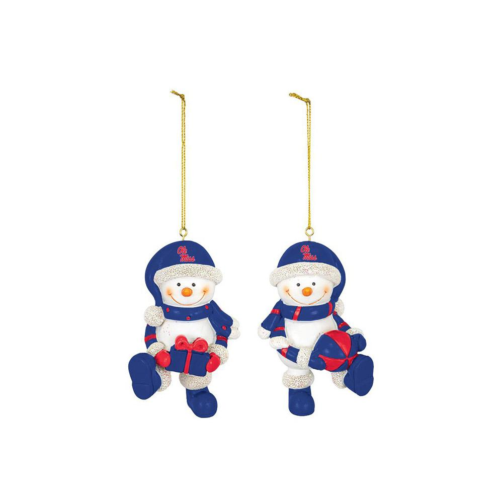 Ole Miss Set Of 2 Snowman Ornaments