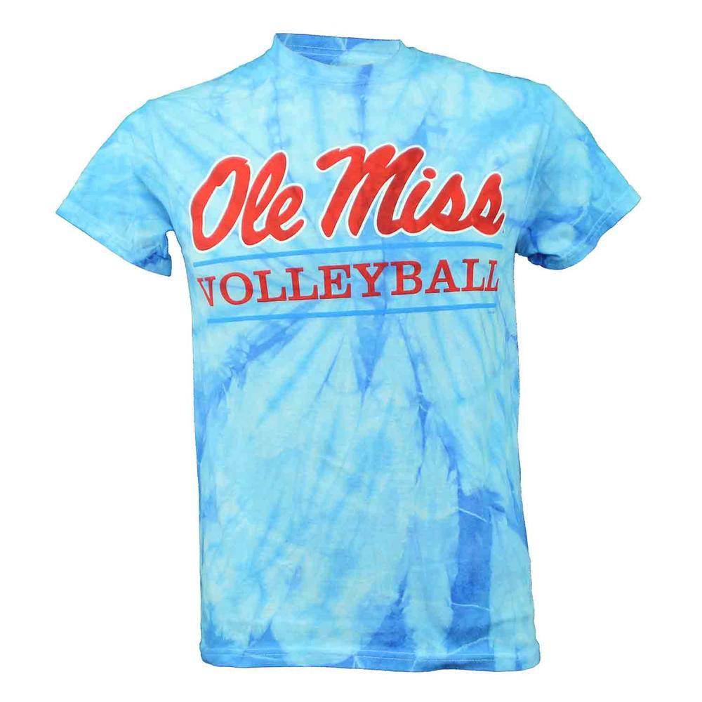 Tie- Dye Ole Miss Volleyball Bar Ss T- Shirt
