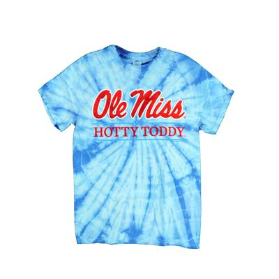 YOUTH OLE MISS HOTTY TODDY BAR SS TIE-DYE T-SHIRT SPIDER_BABY_BLUE
