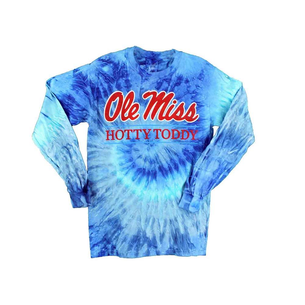 Tie- Dye Ole Miss Hotty Toddy Bar Ls T- Shirt