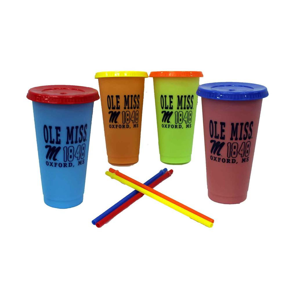 Ole Miss Set Of 4 Concoures Tumbler Lid Straw