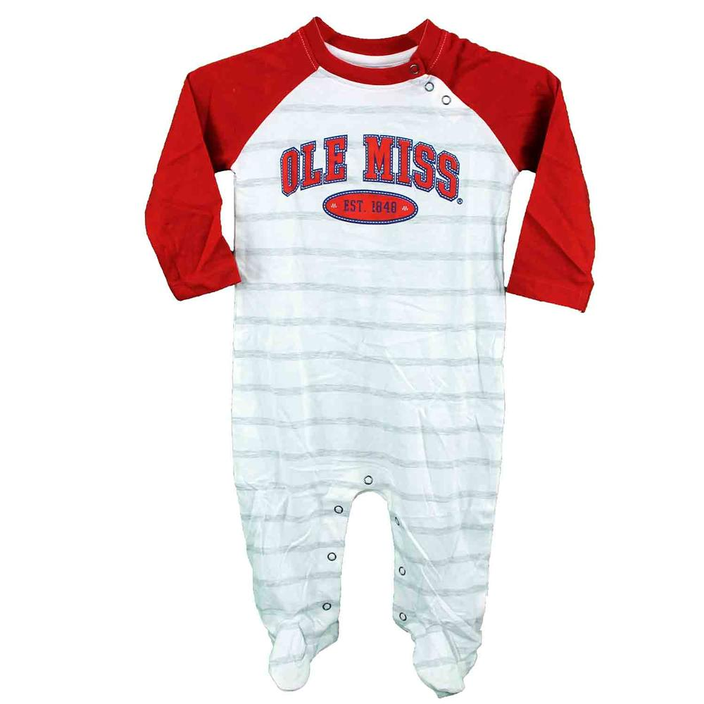 Ole Miss Court Ls Striped Infant Romper