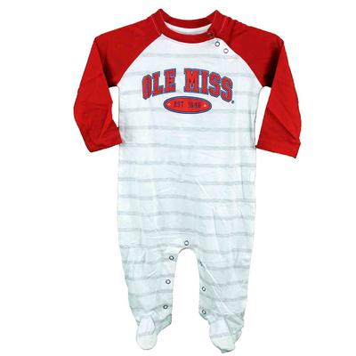 OLE MISS COURT LS STRIPED INFANT ROMPER RED