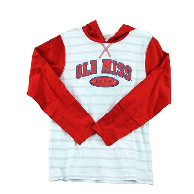 OLE MISS YOUTH COURT STRIPED HOOD TEE RED