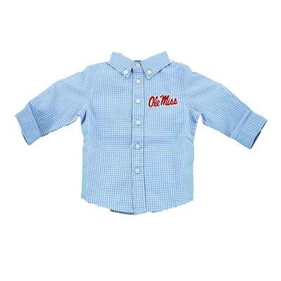 OLE MISS INFANT COLE WOVEN LS GINGHAM LIGHT_BLUE