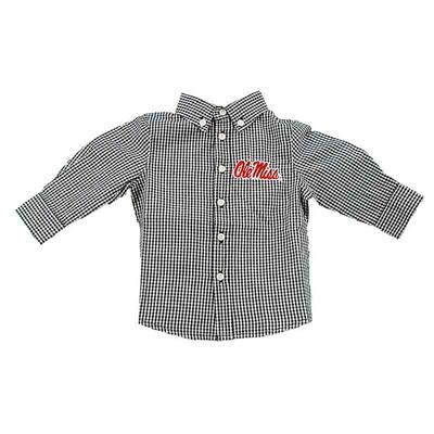 OLE MISS INFANT COLE WOVEN LS GINGHAM NAVY