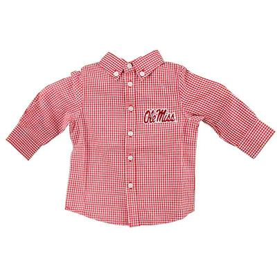 OLE MISS INFANT COLE WOVEN LS GINGHAM RED