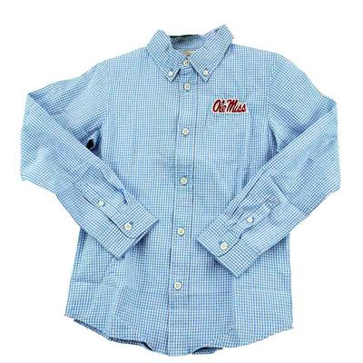 OLE MISS YOUTH COLE LS WOVEN GINGHAM LIGHT_BLUE