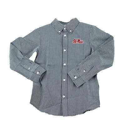 OLE MISS YOUTH COLE LS WOVEN GINGHAM NAVY