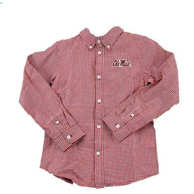 OLE MISS YOUTH COLE LS WOVEN GINGHAM RED