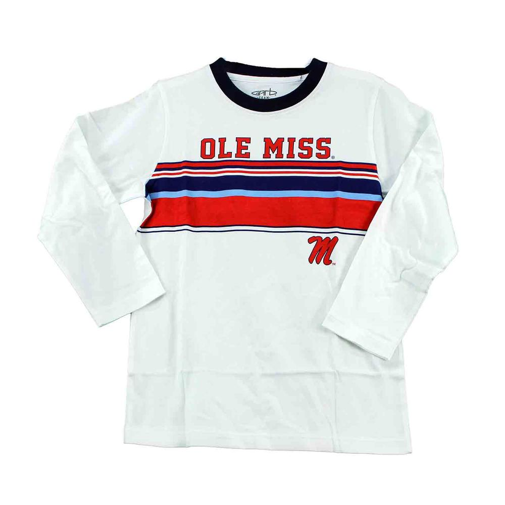 Ole Miss Ls Timmy Stripe Ringer Tee
