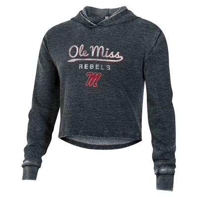 OLE MIISS REBELS BURNOUT CROPPED PULLOVER HOODIE