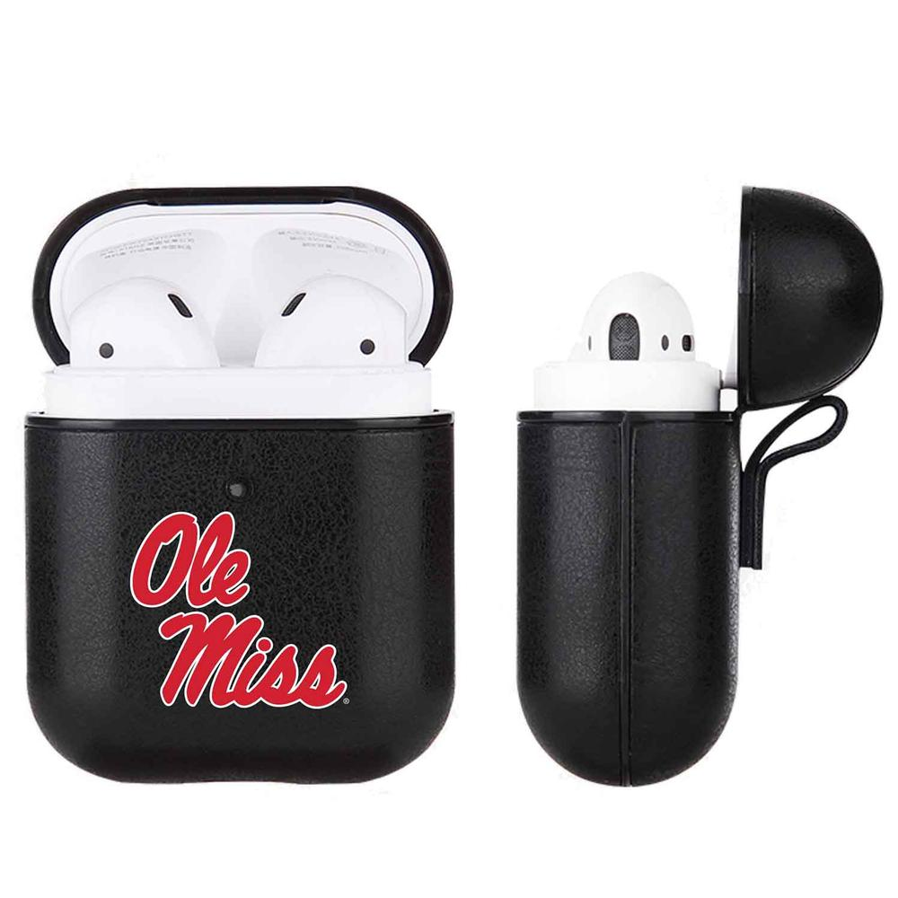 Fan Brander Black Apple Air Pod Leatherette Case With Mississippi Ole Miss Prima