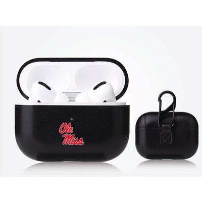 FAN BRANDER BLACK APPLE AIR POD PRO LEATHERETTE CASE WITH MISSISSIPPI OLE MISS P