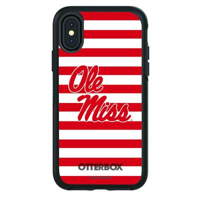 OTTERBOX BLACK SYMMETRY SERIES FOR GALAXY S10 CASE WITH MISSISSIPPI OLE MISS PRIMARY LOGO WITH STRIPES BLACK