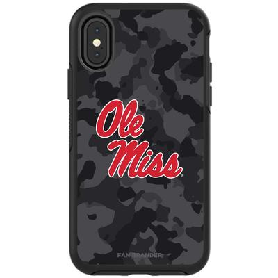 OTTERBOX BLACK SYMMETRY SERIES FOR GALAXY S10 CASE WITH MISSISSIPPI OLE MISS PRIMARY LOGO WITH URBAN CAMO