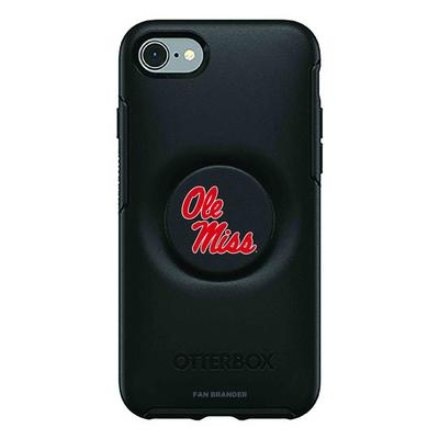 OTTERBOX BLACK IPHONE 8/7 PLUS OTTER + POP SYMMETRY CASE WITH MISSISSIPPI OLE MISS PRIMARY LOGO