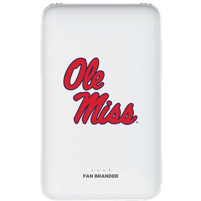5000 MAH PORTABLE POWER BANK WITH MISSISSIPPI OLE MISS PRIMARY MARK DESIGN WHITE