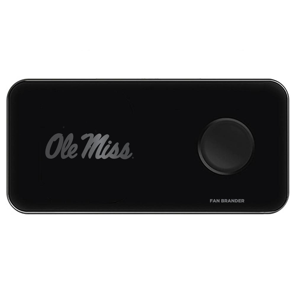3 In 1 Glass Wireless Charge Pad With Mississippi Ole Miss Primary Mark Design