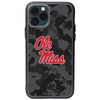 FAN BRANDER BLACK IPHONE 8 IPHONE 7 IPHONE 6 IPHONE 6S BLACK SLATE CASE WITH OLE MISS LOGO AND URBAN CAMO