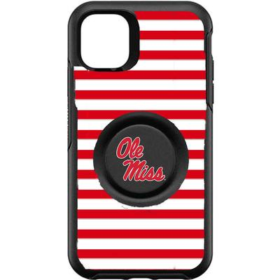 OTTERBOX BLACK IPHONE 11 OTTER + POP SYMMETRY CASE WITH MISSISSIPPI OLE MISS LOGO WITH STRIPES BLACK