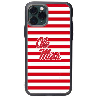 FAN BRANDER BLACK IPHONE 8 IPHONE 7 IPHONE 6 IPHONE 6S BLACK SLATE CASE WITH OLE MISS STRIPES