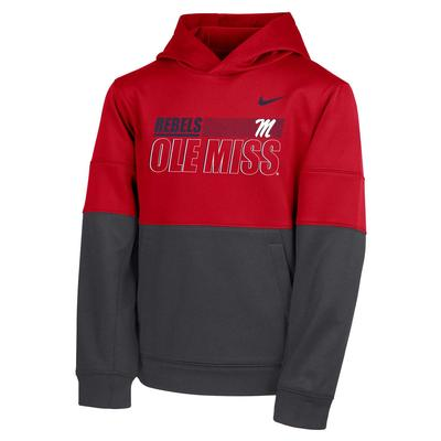 BOYS NIKE OLE MISS THERMA PO HOODY RED