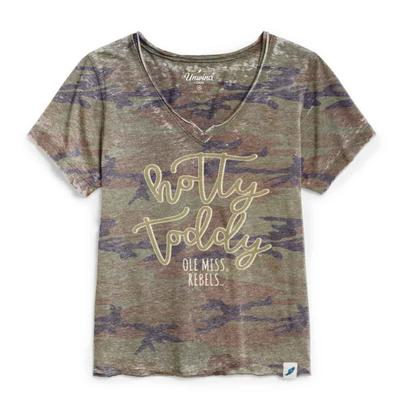 HOTTY TODDY WOMENS LOOSE FIT V-NECK CAMO