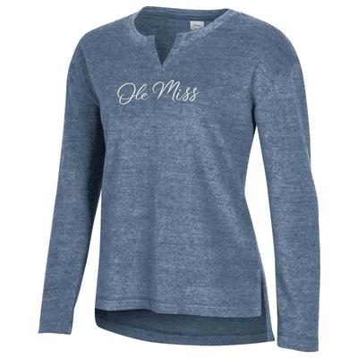 OLE MISS FEEL GOOD TERRY CREW DUNGAREE_BLUE