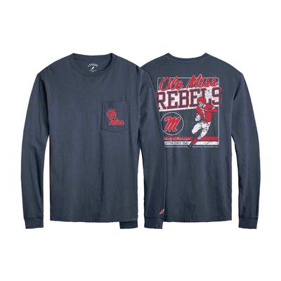 OLE MISS FOOTBALL LS POCKET TEE